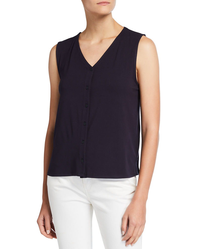 Eileen Fisher V-Neck Button-Front Sleeveless Top
