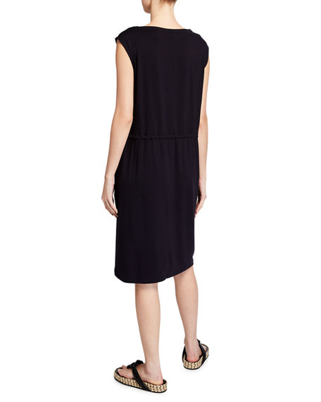 Image 2 of 2: Eileen Fisher Bateau-Neck Jersey Shift Dress with Pockets