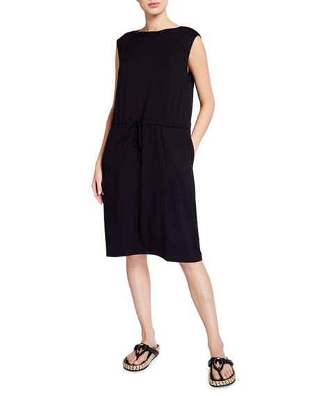 Image 1 of 2: Eileen Fisher Bateau-Neck Jersey Shift Dress with Pockets