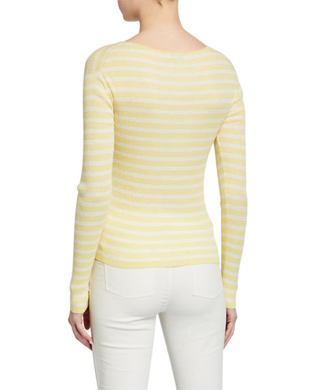 Image 2 of 4: Vince Striped Rib Boat-Neck Top