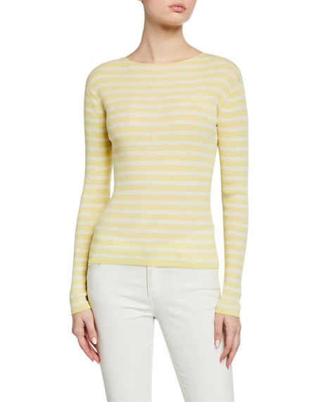 Image 1 of 4: Vince Striped Rib Boat-Neck Top
