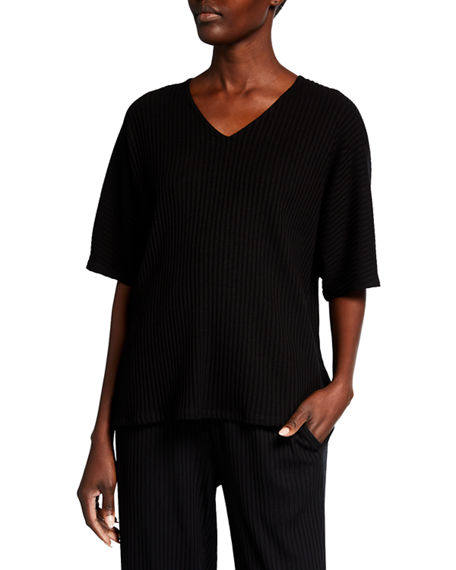Eileen Fisher V-Neck Elbow-Sleeve Ribbed Top