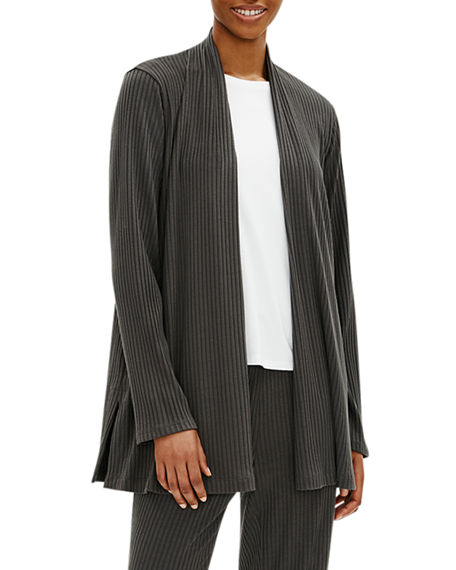 Eileen Fisher Petite Ribbed Straight Jacket with Side Slits