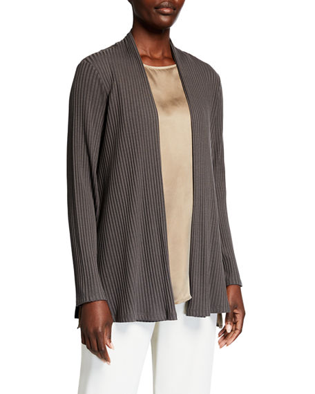 Eileen Fisher Ribbed Straight Jacket with Side Slits