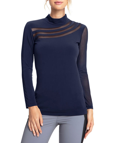 Anatomie Aliyah Long-Sleeve Mesh Front Overlay Jersey Top