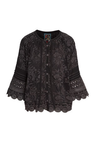 Johnny Was Plus Size Tora Eyelet Floral Embroidered Blouse