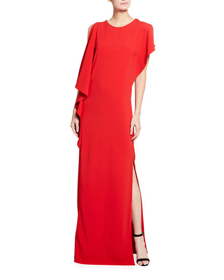 St. John Collection Stretch Cady Gown with High Slit