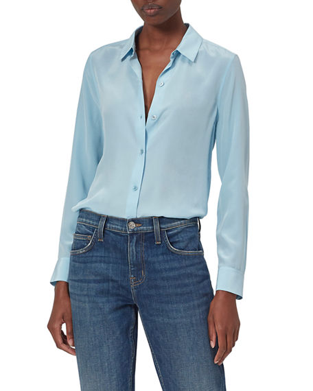 Equipment Essential Solid Button-Down Silk Top