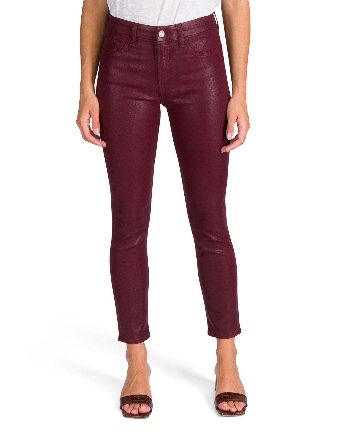 Jen7 MID-RISE COATED ANKLE SKINNY JEANS