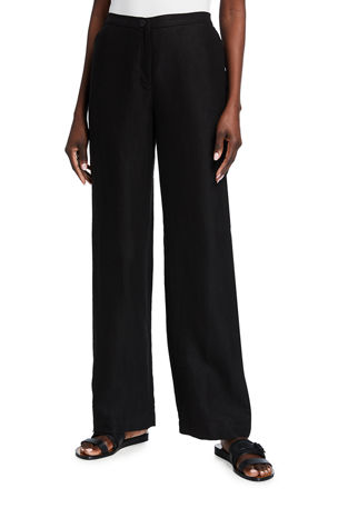 Eileen Fisher Slub Straight-Leg Full Length Pants