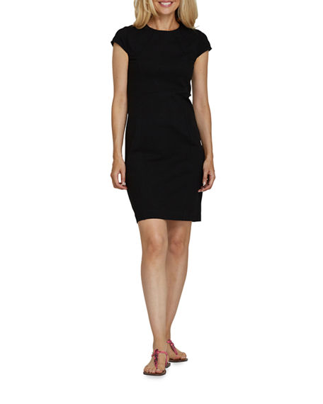 Image 4 of 4: Joan Vass Petite Cap-Sleeve Casual Dress
