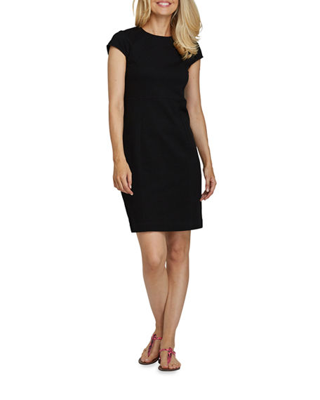 Image 1 of 4: Joan Vass Petite Cap-Sleeve Casual Dress