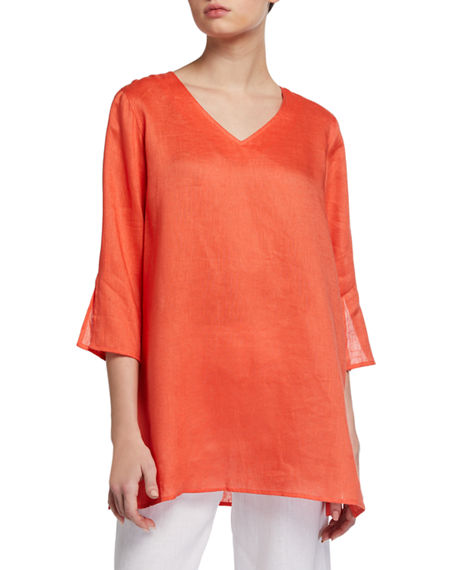 Image 1 of 3: Caroline Rose Tissue Linen V-Neck Easy Tunic