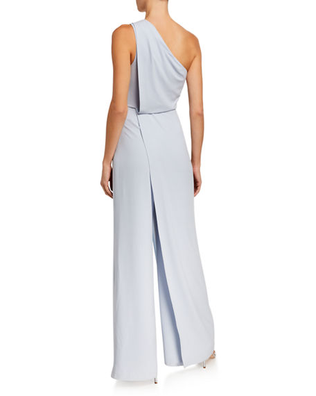 Image 2 of 2: Halston Asymmetric Draped Wide-Leg Jumpsuit