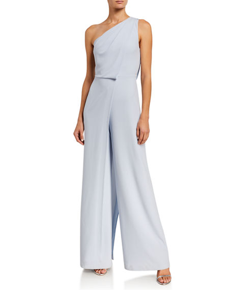 Image 1 of 2: Halston Asymmetric Draped Wide-Leg Jumpsuit