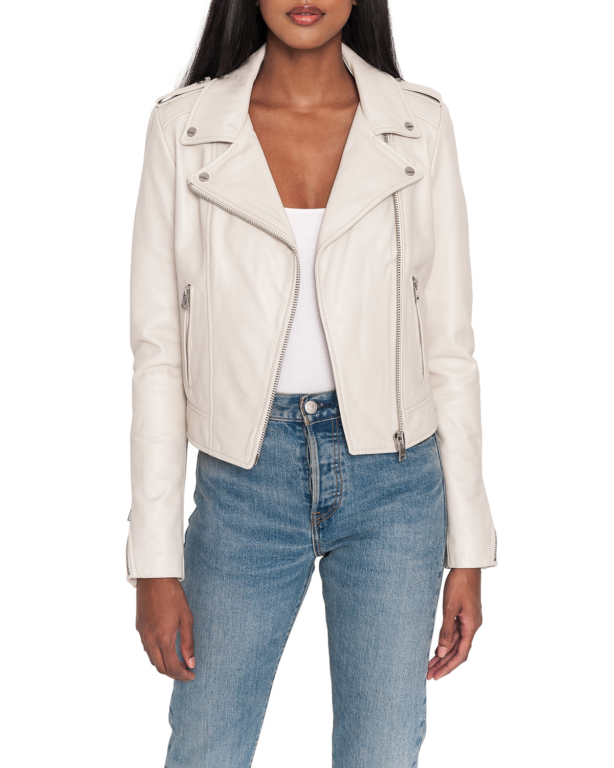 Donna Hand-Waxed Leather Moto Jacket