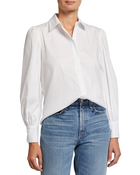 Finley Ginny Puff-Sleeve Button-Down Top
