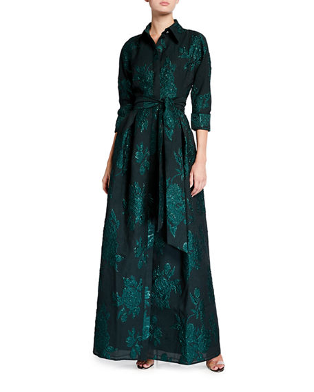 Rickie Freeman for Teri Jon Belted Jacquard Shirtdress Gown