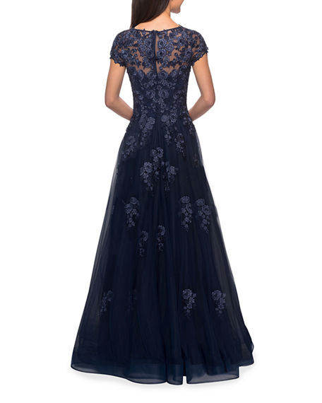 Image 2 of 2: La Femme Floral Lace & Tulle Ball Gown