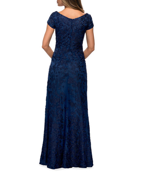 Image 2 of 2: La Femme Cap-Sleeve Lace Column Gown
