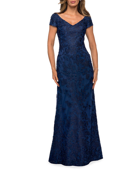 Image 1 of 2: La Femme Cap-Sleeve Lace Column Gown