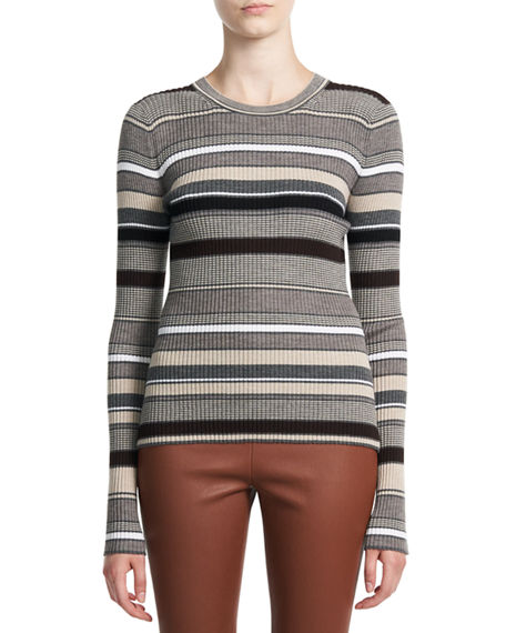 Theory Stripe Regal Wool Crewneck Sweater