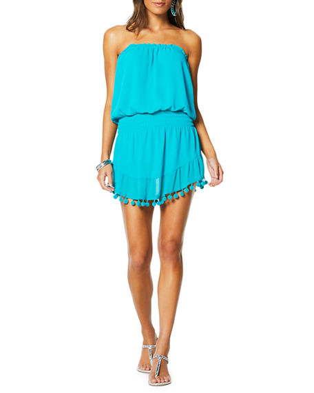 Image 1 of 3: Ramy Brook Marcie Strapless Coverup Dress with Pompoms