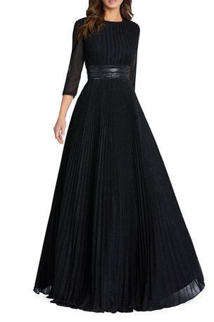 Ieena for Mac Duggal Sparkly Pleated A-Line Gown