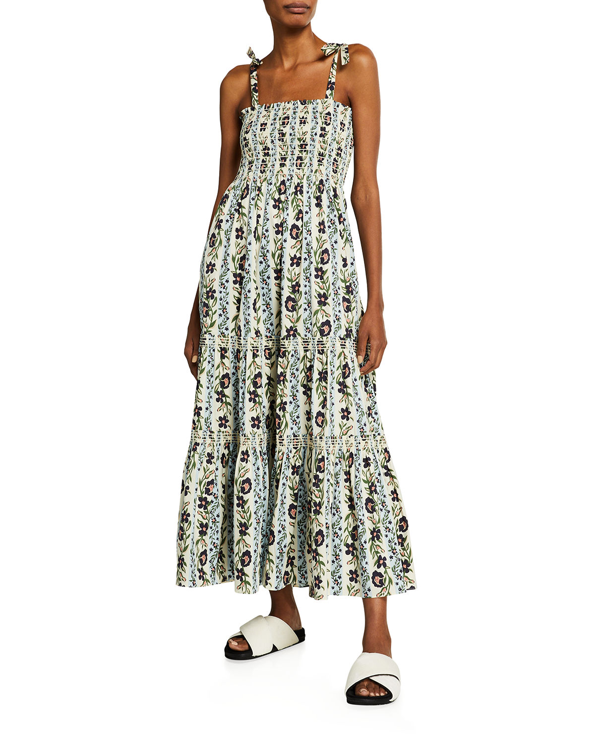 Tory Burch Cottons FLORAL-PRINT TIE-SHOULDER TIERED MAXI DRESS