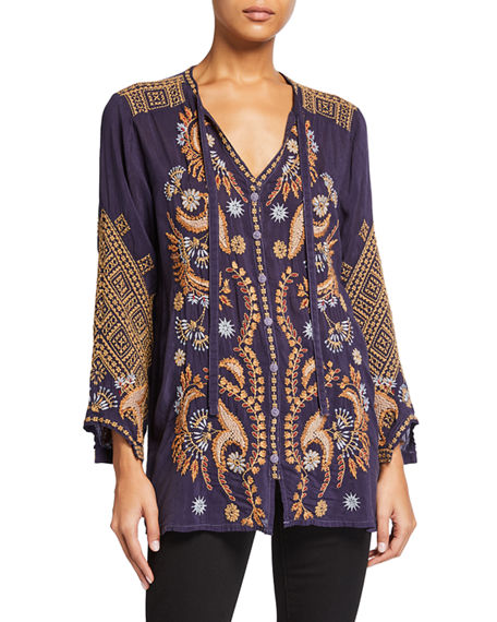 Johnny Was Plus Size Minerva Tie-Neck Embroidered Blouse