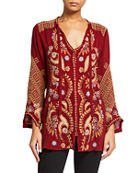 Johnny Was Minerva Tie-Neck Embroidered Blouse