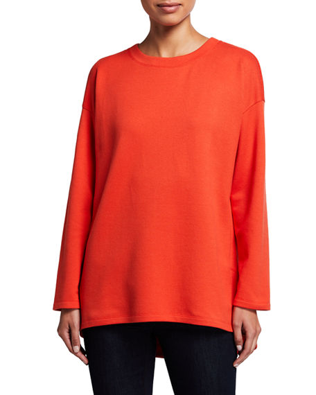 Eileen Fisher Plus Size Crewneck Long-Sleeve High-Low Top