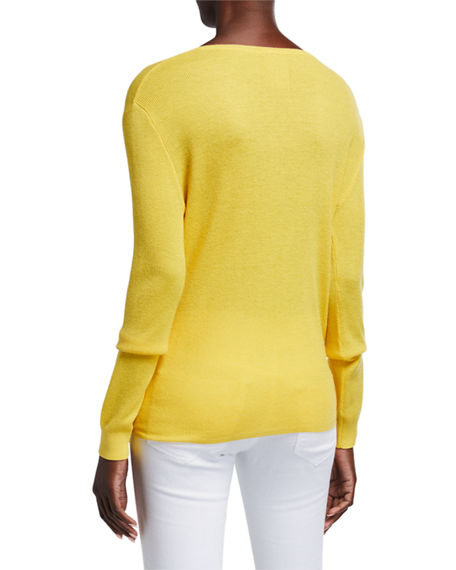 Image 3 of 4: Neiman Marcus Cashmere Collection Super Fine Silk/Cashmere Crewneck Side-Tie Long-Sleeve Sweater