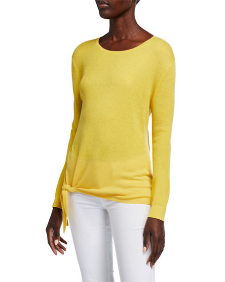 Image 1 of 4: Neiman Marcus Cashmere Collection Super Fine Silk/Cashmere Crewneck Side-Tie Long-Sleeve Sweater