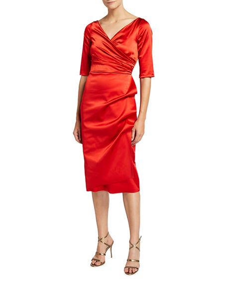 Chiara Boni La Petite Robe V-Neck Elbow-Sleeve Ruched Satin Dress
