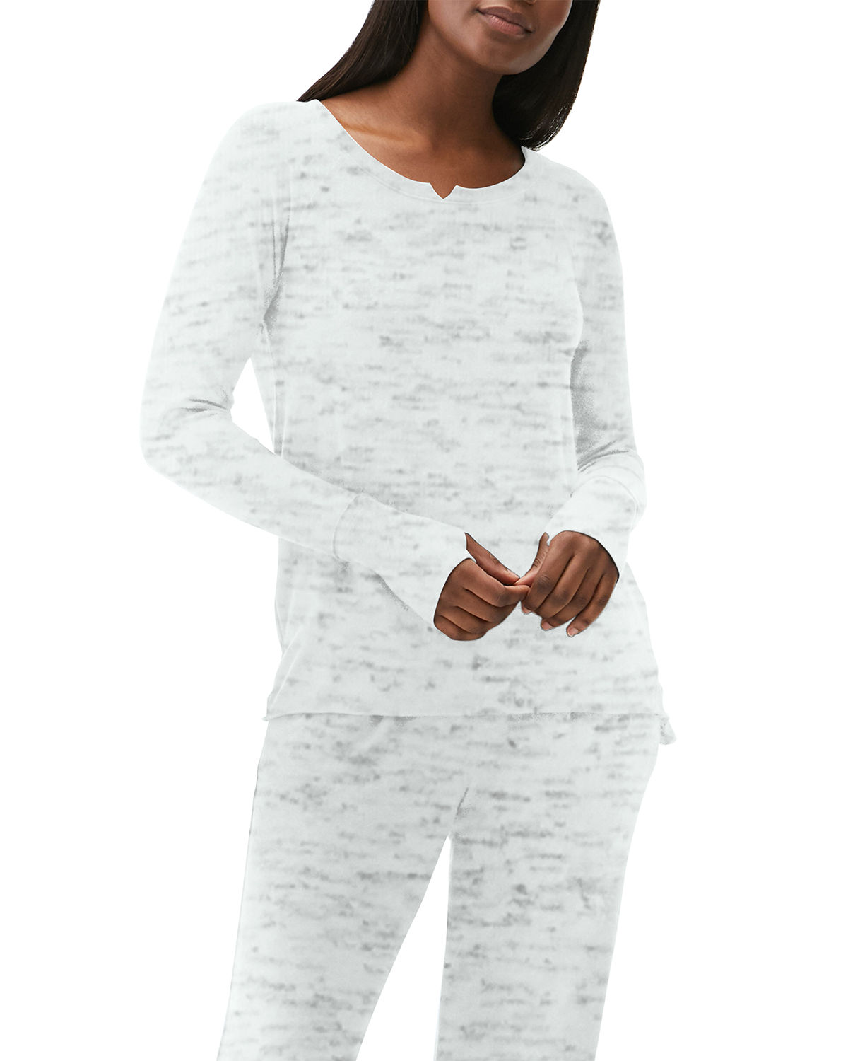 Notched-Neck Top w/ Thumbholes