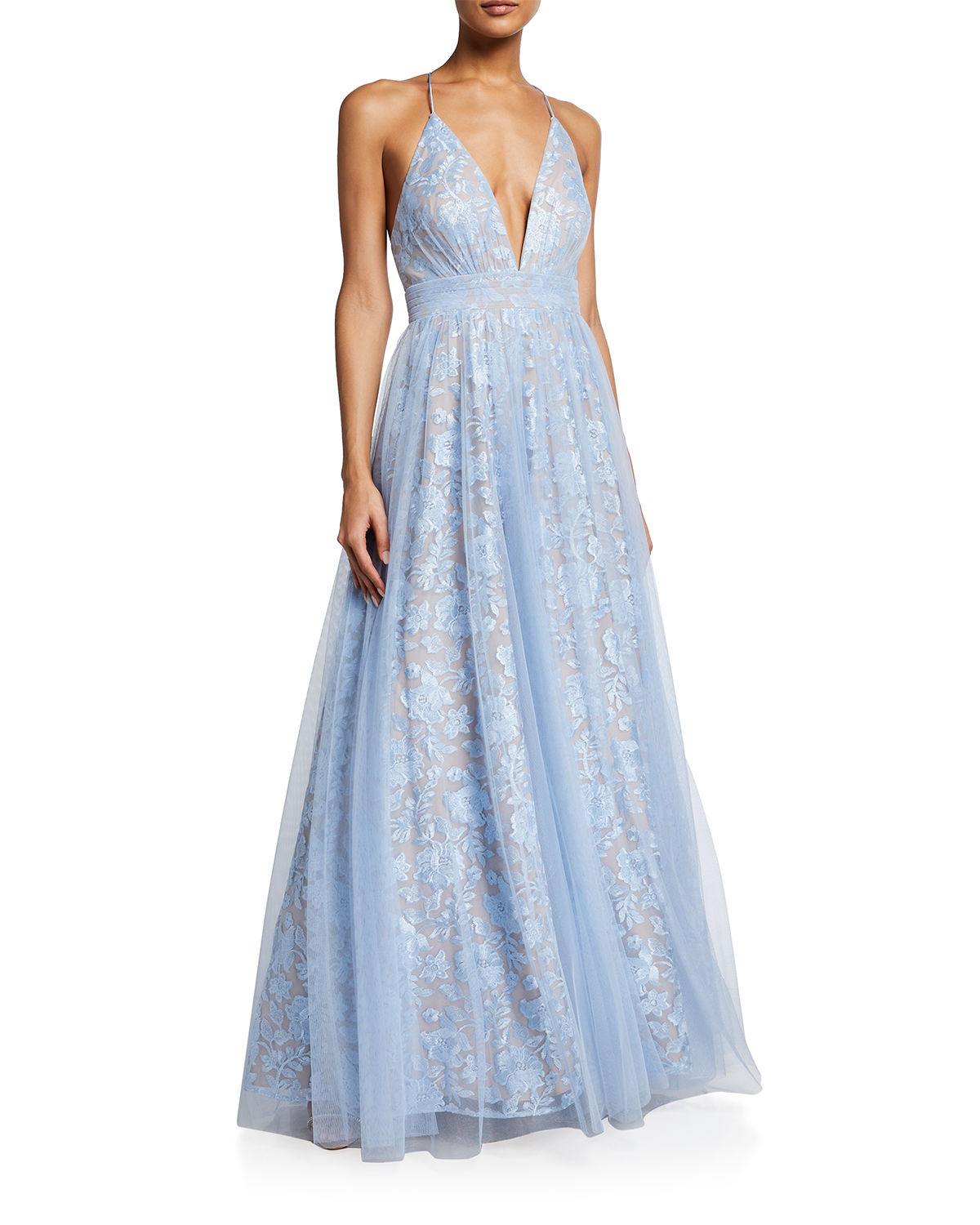 Aidan Mattox Gowns PLUNGING FLORAL EMBROIDERED MESH COVERED BALL GOWN