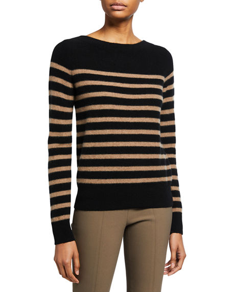 Vince Breton Striped Cashmere Boat-Neck Sweater