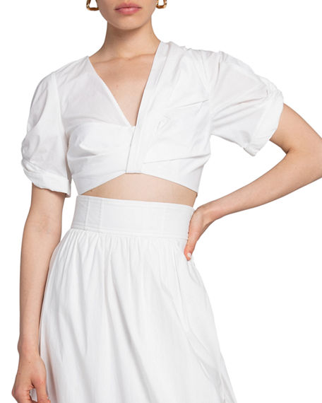A.L.C. Ryan Gathered Cotton Cropped Top