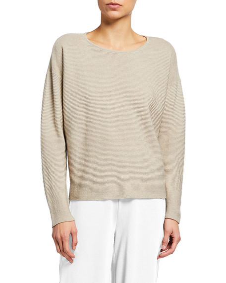Eileen Fisher Ribbed Organic Linen-Cotton Box Top