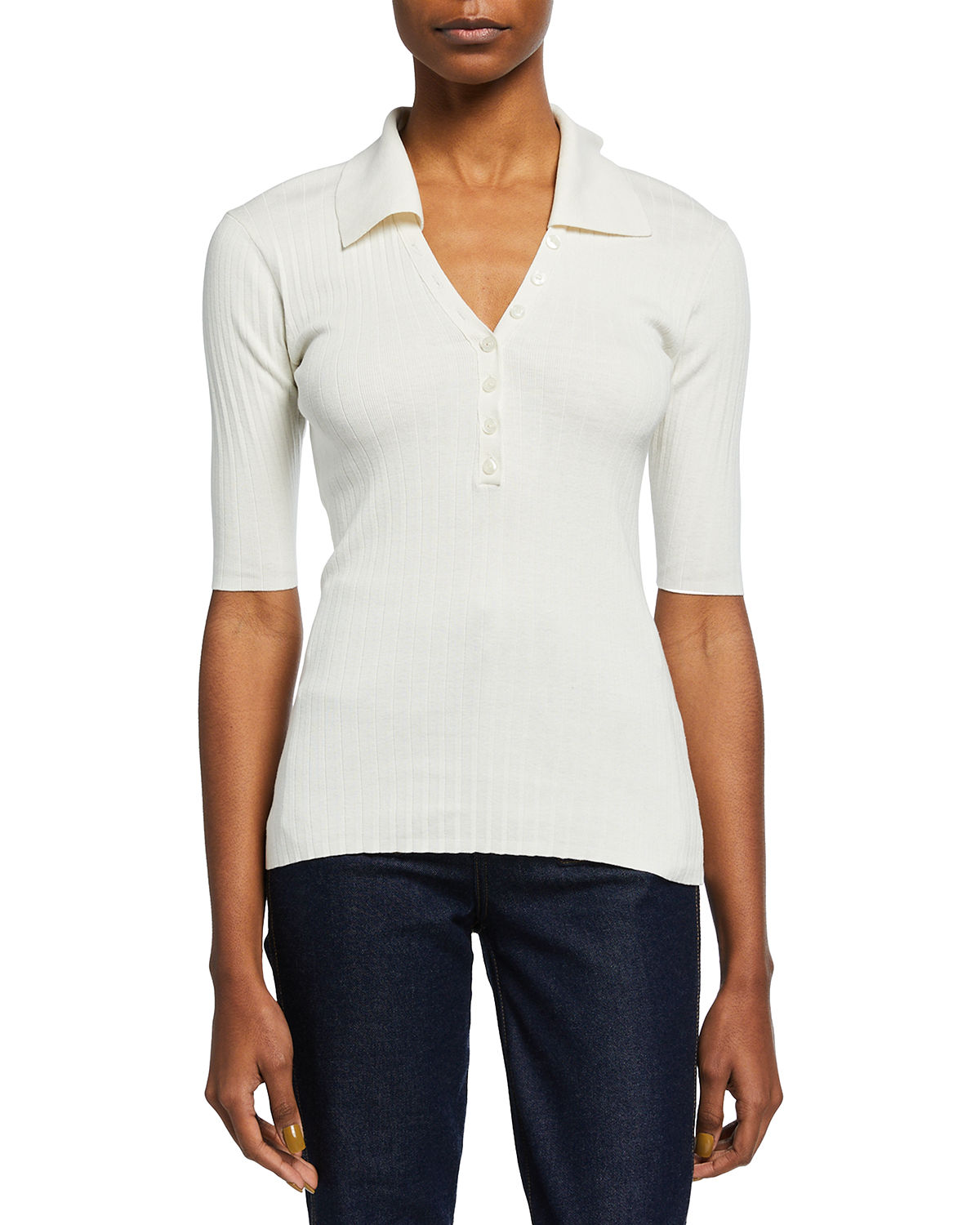 Halston JAMES RIB-KNIT HENLEY TOP