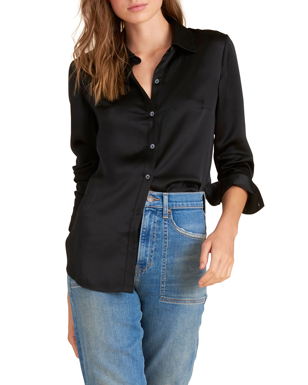 Veronica Beard Silks MORGANE BUTTON-DOWN SILK TUNIC SHIRT
