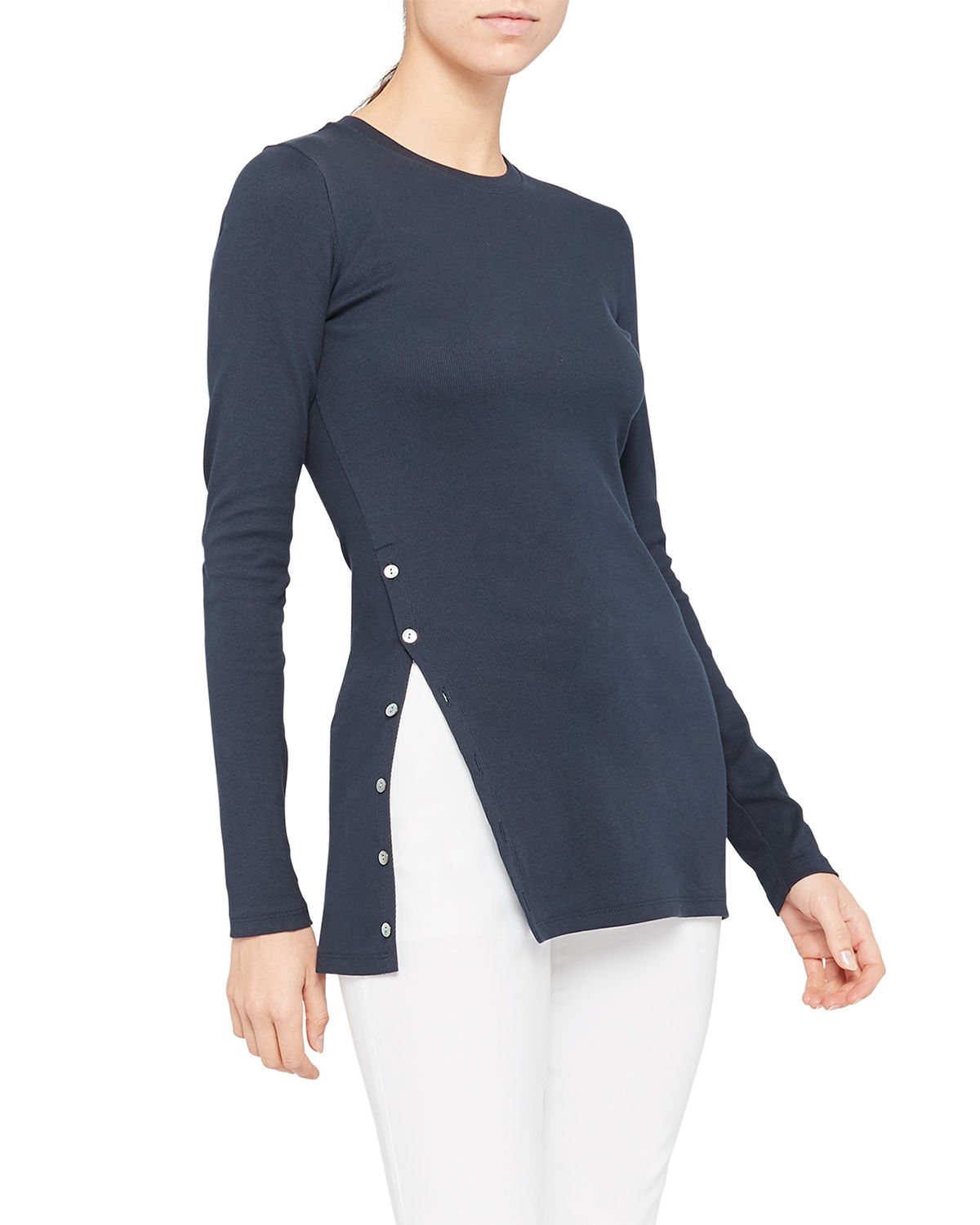Theory Tops MOTHER-OF-PEARL BUTTON LONG-SLEEVE TEE