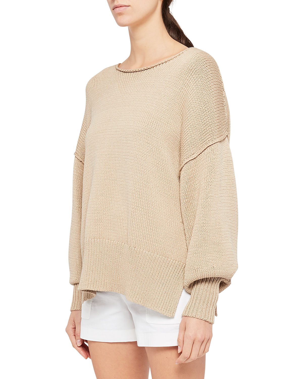 Theory CHUNKY-KNIT COTTON PULLOVER TOP