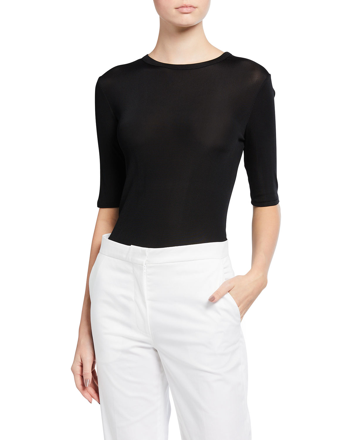 St. John RIBBED ELBOW-SLEEVE TOP