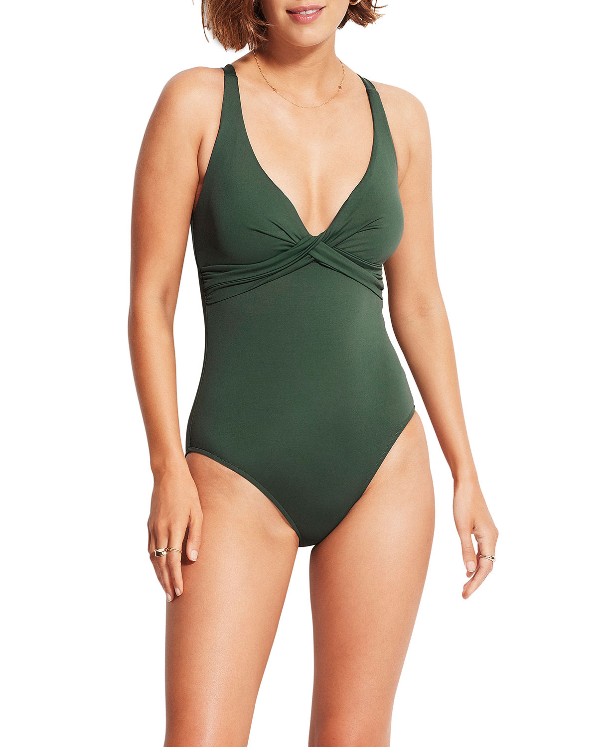 Seafolly WRAP-FRONT SOLID ONE-PIECE SWIMSUIT (DD CUP)