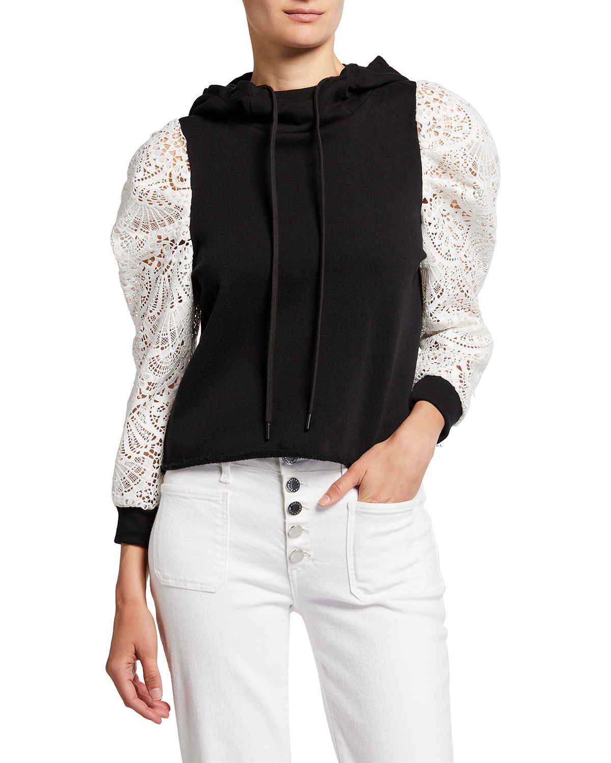 Muffy Puff-Sleeve Hoodie with Lace