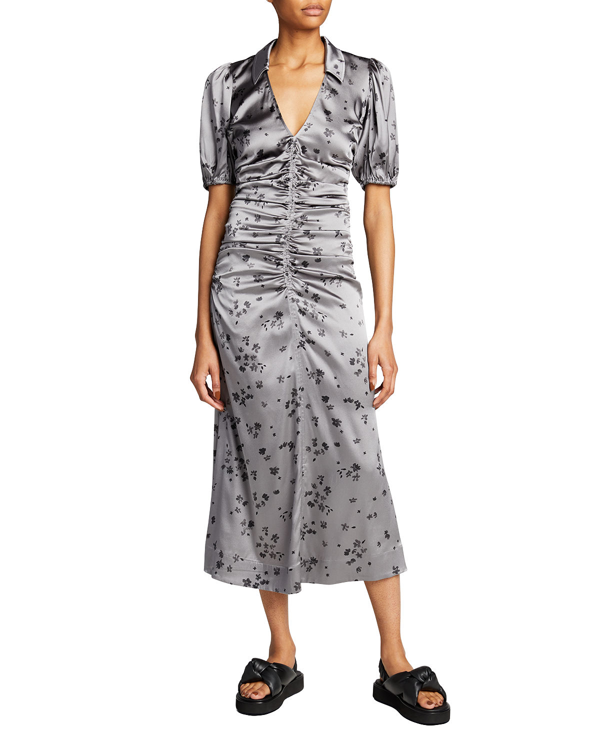 Stretch Satin Ruched Floral-Print Dress