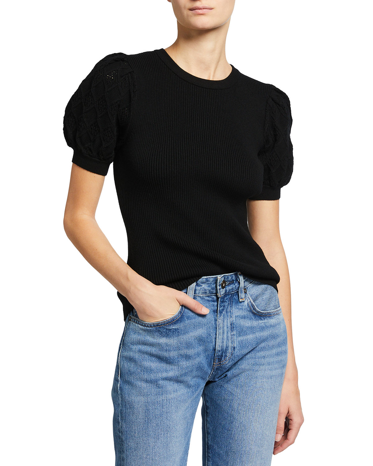 Milly POINTELLE PUFF-SLEEVE RIBBED TOP