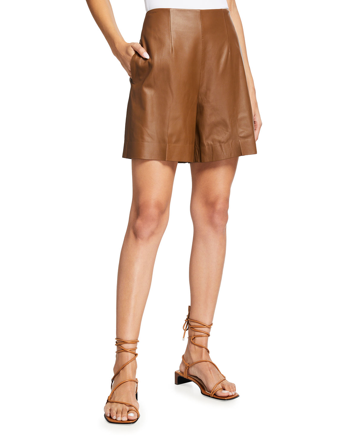 Vince HIGH-RISE LEATHER SHORTS
